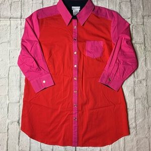 Soft Surroundings pink red color block shirt